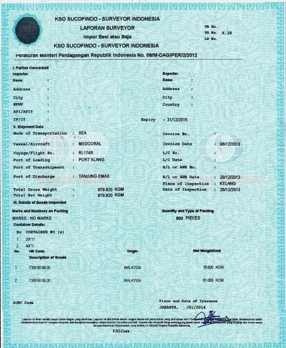 Barang impor yang wajib LS (Laporan Surveyor)